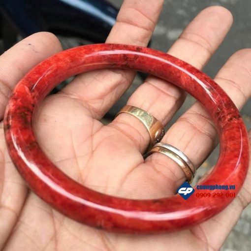 Vòng tay đá cẩm thạch đỏ huyết