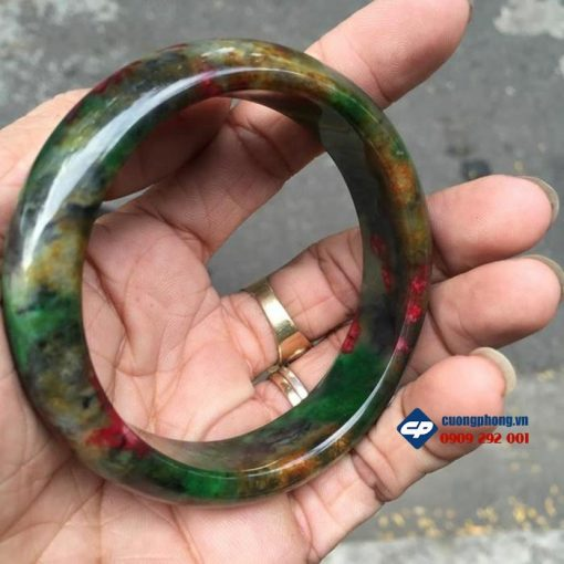 Vòng tay đá Ngọc tứ quý xanh đỏ đậm AV55