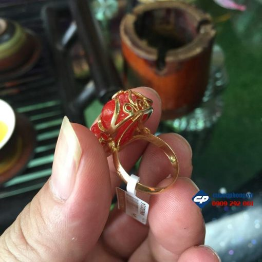 Mặt nhẫn tỳ hưu mã não bọc vàng A1501