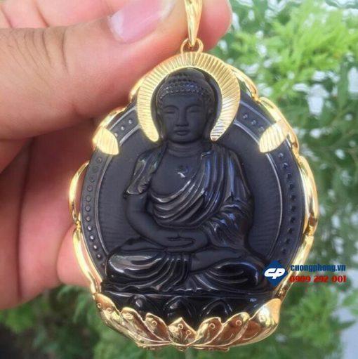Mặt Phật A di đà đá Obsidian bọc vàng A1611