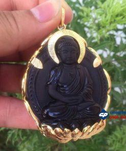 Mặt Phật A di đà đá Obsidian bọc vàng