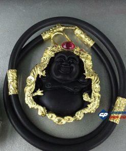 Mặt phật Di lặc đá Obsidian bọc vàng hình rồng