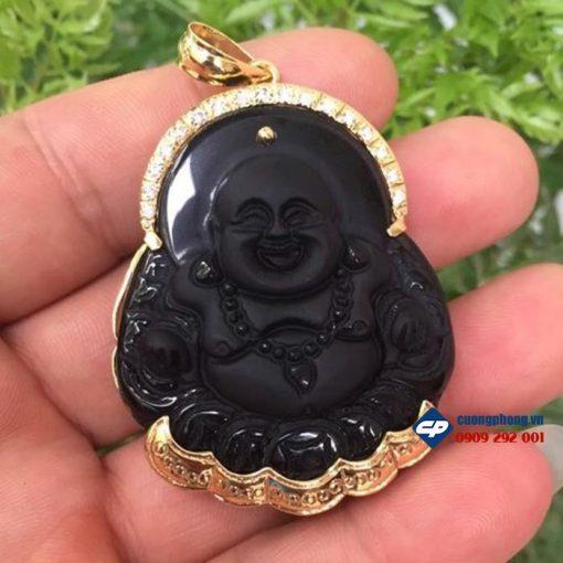 Mặt phật Di lặc đá Obsidian bọc vàng