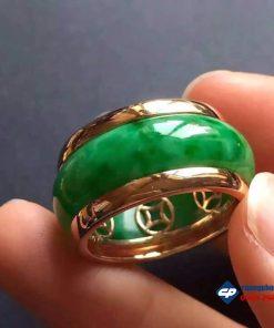 Nhẫn đá Cẩm thạch bọc vàng