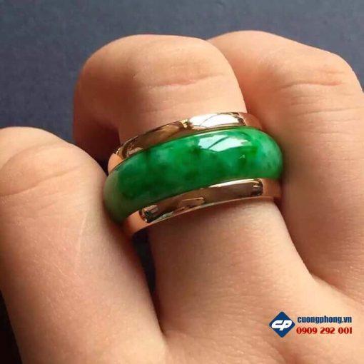 Nhẫn đá Cẩm thạch bọc vàng A1619