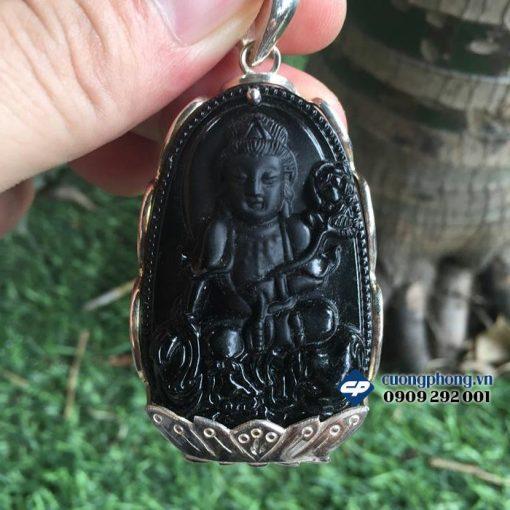 Mặt Phật bản mệnh Phổ Hiền đá obsidian bọc bạc