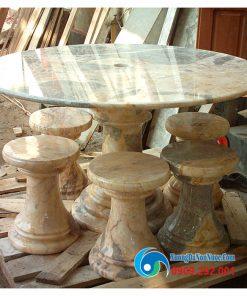 Bộ bàn ghế đá Marble màu trắng
