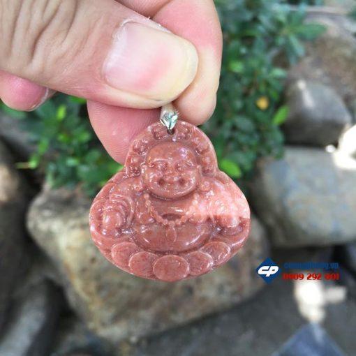 Mặt phật Di lặc đá hồng phấn A1245