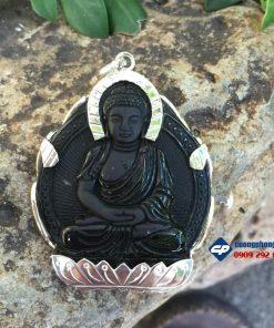 Phật a di đà đá obsidian bọc bạc