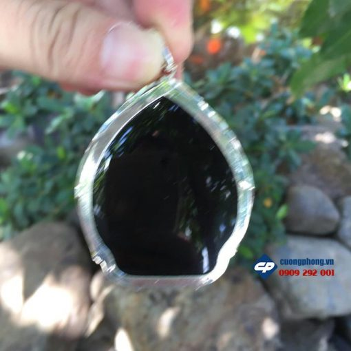 Phật a di đà đá obsidian bọc bạc A1250