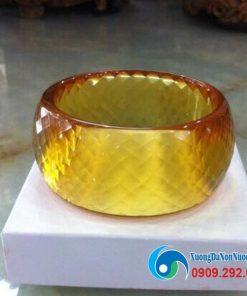 Vòng tay pha lê bản lớn màu vàng