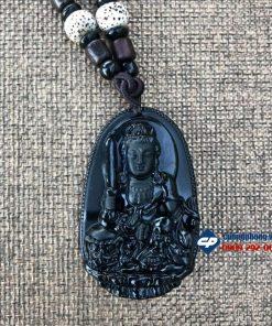 Mặt phật bản mệnh Văn Thù Sự Lợi đá obsidian D226