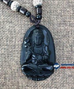 Mặt Phật bản mệnh Đại Thế Chí Bồ Tát đá obsidian D229