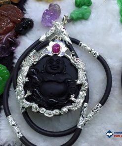 Mặt phật Di lặc đá obsidian