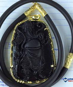 Mặt Quan công đá Obsidian bọc vàng