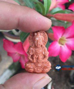 Mặt dây chuyền Phật Quan Âm đá hồng phấn