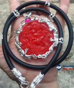 Mặt dây chuyền Rồng Đỏ Ốp Bạc hình Rồng
