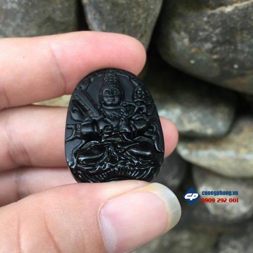 Mặt phật bản mệnh Hư Không Tạng đá obsidian size nhỏ D0306