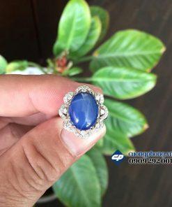 Mặt nhẫn bạc ốp hạt đá quý Saphire sao