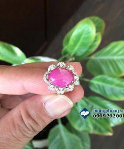 Nhẫn bạc ốp hạt đá ruby sao tự nhiên