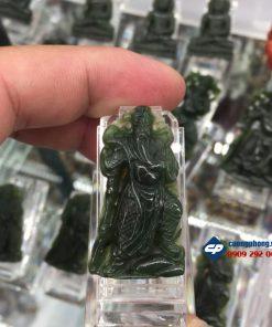 Mặt Quan Công đá Ngọc Bích Nephrite size nhỏ