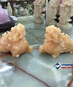 Cặp Tỳ Hưu Phong Thủy đá Ngọc Hoàng Long 15cm