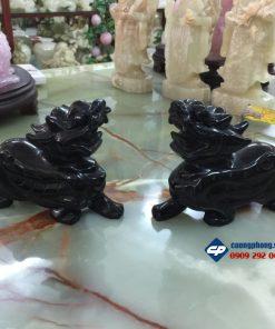 Cặp tỳ hưu phong thủy đá Hắc Ngà 12cm
