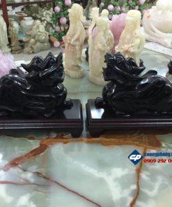 Cặp tỳ hưu phong thủy đá Hắc Ngà 20cm