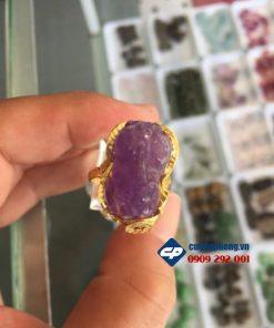 Nhẫn Tỳ hưu đá thạch anh tím ốp vàng 10k CP051