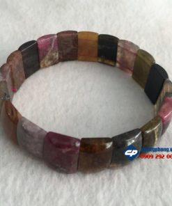 Vòng hạt đeo tay đá Tourmaline hạt trụ L191