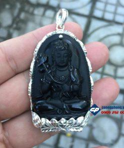 Mặt phật bản mệnh Đại Thế Chí đá obsidian ốp bạc CP066