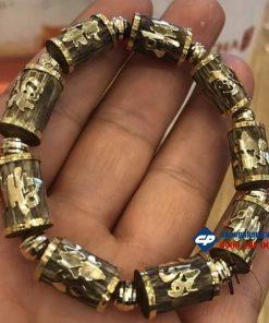 Vòng Trầm Sánh hạt trúc 10 li ốp vàng 18k Phúc Lộc Thọ T101