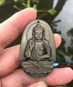 Mặt Phật bản mệnh A Di Đà đá Gold Obsidian CP075