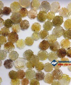 Mặt Hoa Mẫu Đơn đá thạch anh tóc vàng Cp099