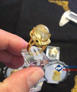 Nhẫn vàng 10k đính hạt đá thạch anh tóc vàng CP106N