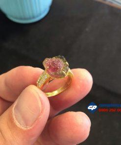 Nhẫn vàng 10k đính hoa mẫu đơn đá tourmaline CP107