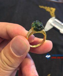 Nhẫn vàng 10K đính hoa mẫu đơn đá Tourmaline CP108