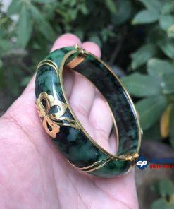 Vòng tay Ngọc Cẩm Thạch Sơn Thủy bọc vàng 18k