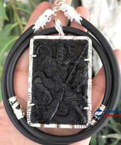 Mặt Quan Công đá Obsidian bọc bạc