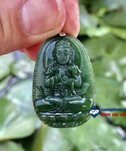 Mặt phật Như Lai Đại Nhật đá Ngọc Bích (đá Nephrite) PM05