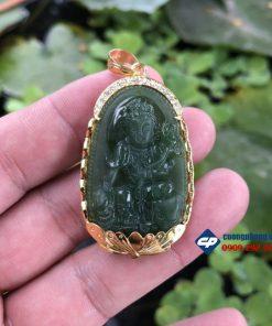 Mặt phật Phổ Hiền Ngọc Bích Nephrite bọc vàng 18k