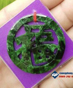 Mặt ngọc bội chữ Phúc ngọc cẩm thạch Sơn Thuỷ-R121
