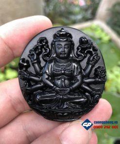 Mặt phật bản mệnh Thiên Thủ Thiên Nhãn đá obsidian-R125