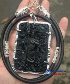 Mặt quan công đá obsidian bọc bạc và dây-R197
