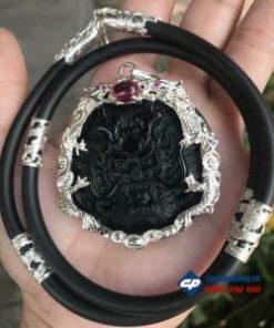 Mặt Rồng đá obsidian bọc bạc và dây bọc bạc-R196