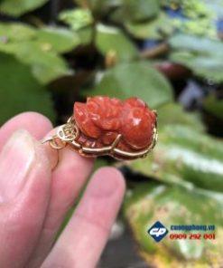 Mặt tỳ hưu Cẩm thạch huyết bọc vàng 18k-R186