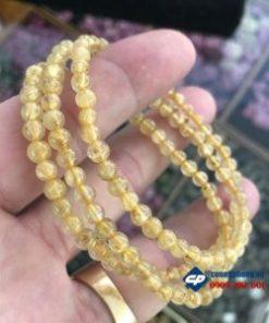 Vòng chuỗi hạt cuộn 3 hạt 5li đá thạch anh tóc vàng -R195