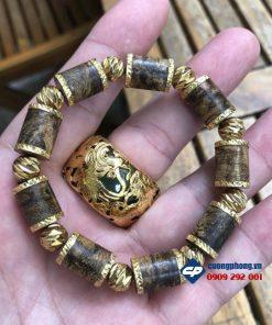Vòng hạt  Trầm Hương Tốc Kiến 10li bọc vàng 18k-R204