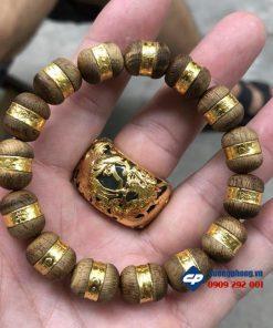 Vòng hạt Trầm Tốc Mã Lai bọc vàng 24k-R205