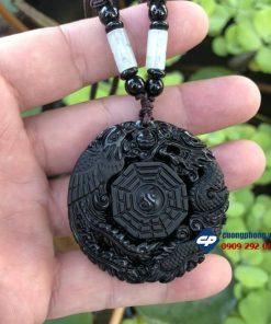 Mặt ngọc bội rồng phụng đá obsidian T1108